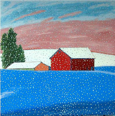 Artist: Pat Tolle, Title: Snowing on Red Barns - click for larger image