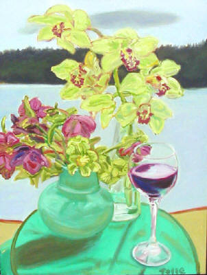 Artist: Pat Tolle, Title: Whidbey, Wine and Flowers - click for larger image