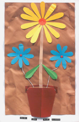 Artist: Bill Braun, Title: Daisy and Blue Flowers - click for larger image