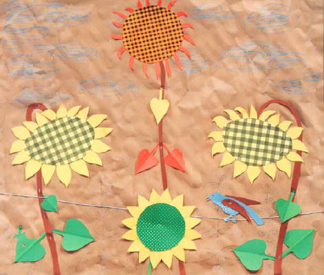 Artist: Bill Braun, Title: Patchwork Sunflowers - Trompe L' Oeil - click for larger image