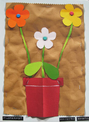 Artist: Bill Braun, Title: Flowerpot with Orange, White and Yellow Flowers - click for larger image