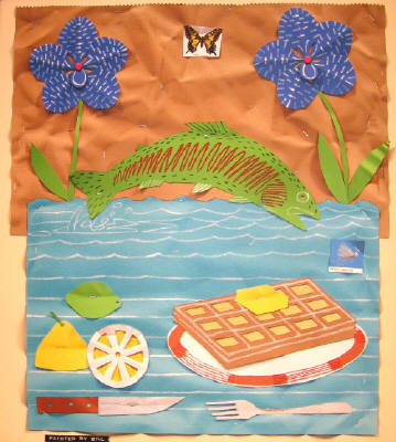 Artist: Bill Braun, Title: Waffle, Fish and Flowers  Commission - click for larger image