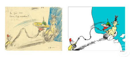 Artist: Dr. Seuss  , Title: Do you Like Green Eggs and Ham? Diptych - click for larger image
