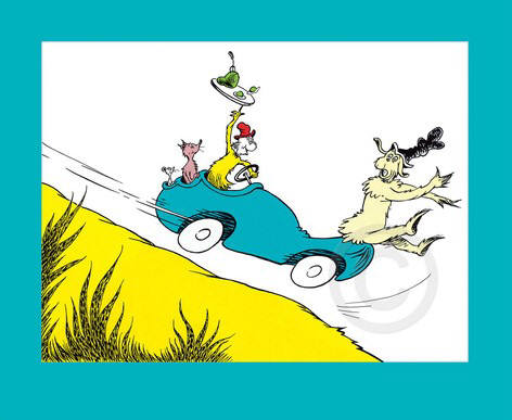 "Artist: Dr. Seuss  , Title: Would you? Could you"" In a Car? - click for larger image"