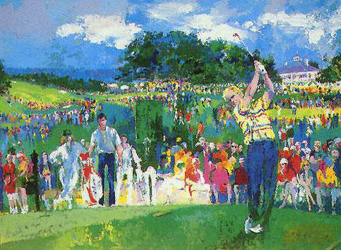 Artist: LeRoy Neiman, Title: April at Augusta 1990 - click for larger image