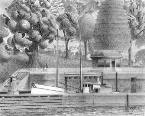 Artist: Mark Skullerud, Title: Ballard Locks II - Graphite Study - click for larger image