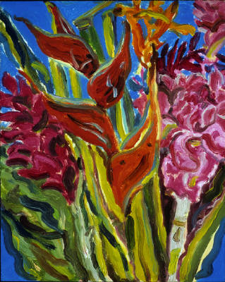 Artist: Pat Tolle, Title: Flea Market Flowers - Maui - click for larger image