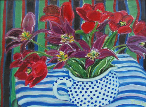 Artist: Pat Tolle, Title: Red Tulips - click for larger image