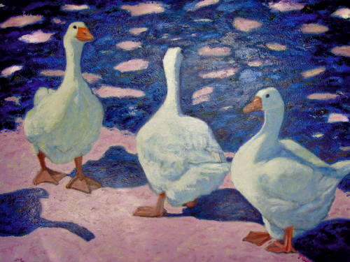Artist: Pat Tolle, Title: Three French Geese - click for larger image