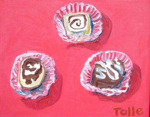 Artist: Pat Tolle, Title: Three Zinzanni Cakes - click for larger image