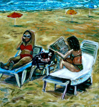 Artist: Pat Tolle, Title: Two Beach Girls - click for larger image
