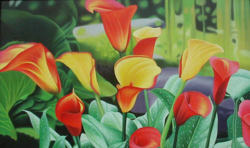 Artist: Robin Robinson, Title: Calla Lilies - click for larger image
