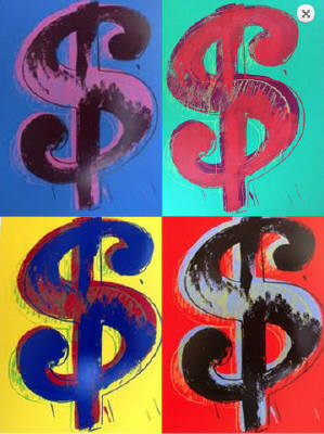 Artist:  Sunday B. Morning, Title: Warhol Dollar Signs - click for larger image